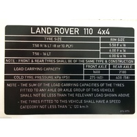 Land Rover Perentie Tyre Data Decal