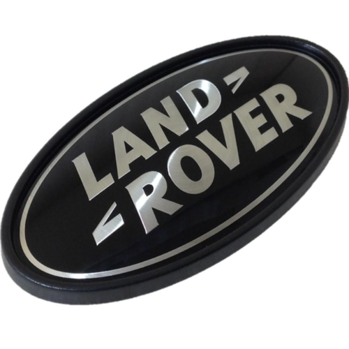 Land Rover Black On Silver Oval Badge Genuine DAH500330